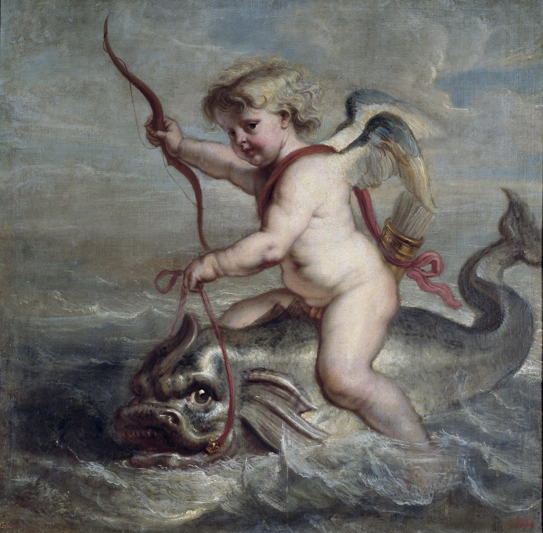Cupido navegando sobre un delfín, 1630