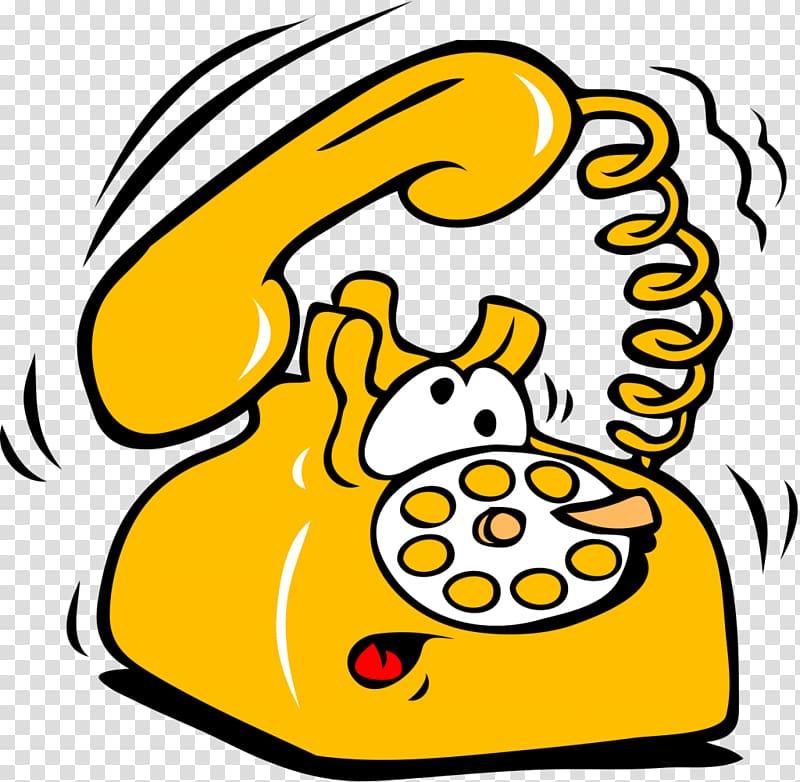 Caricatura con ojos y boca de un telefono de disco sonando