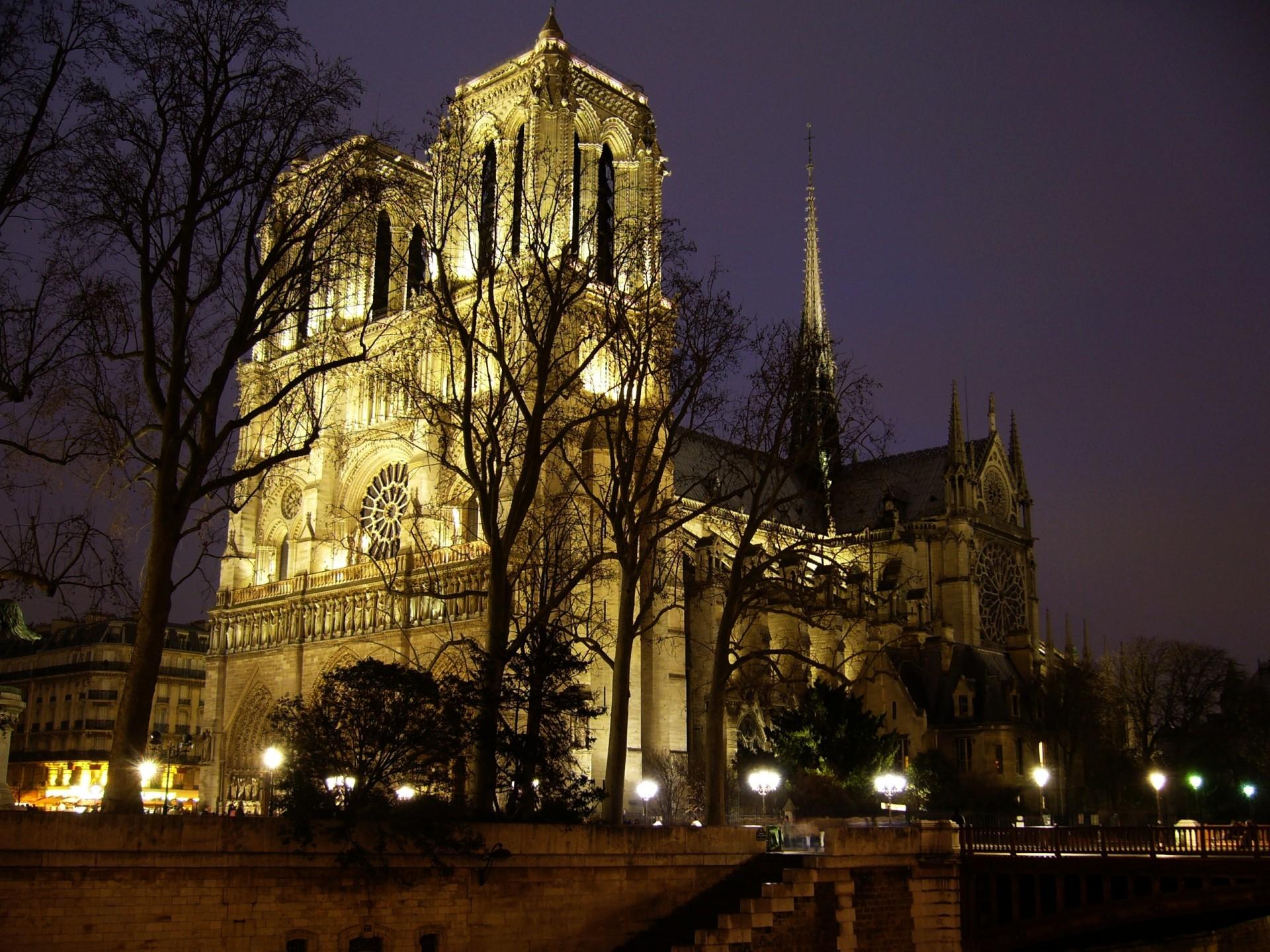 foto de la catedral de Notre Dame de Paris iluminada pro la noche (antes del incendio de 2019)